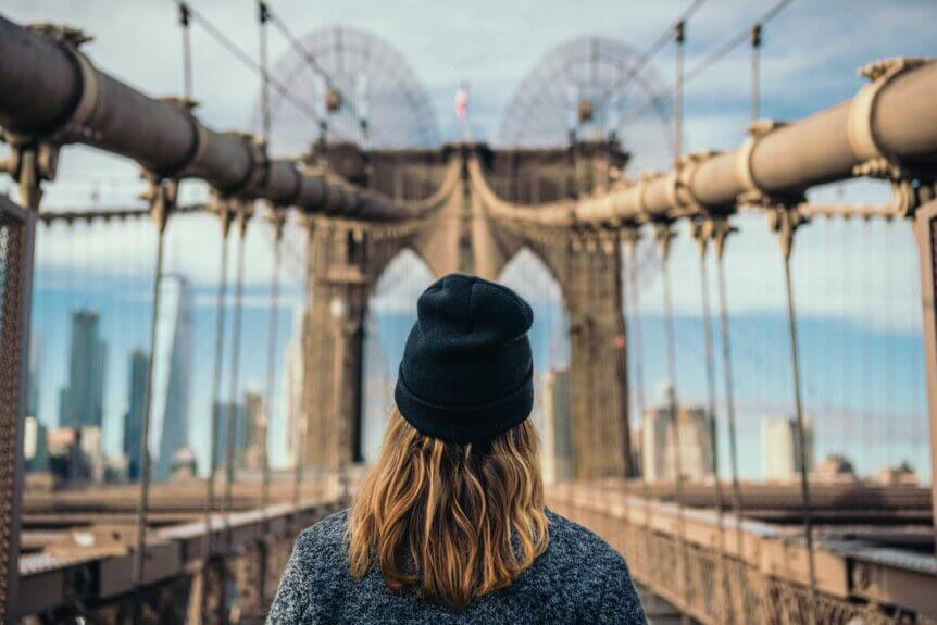 looking at the Brooklyn Bridge