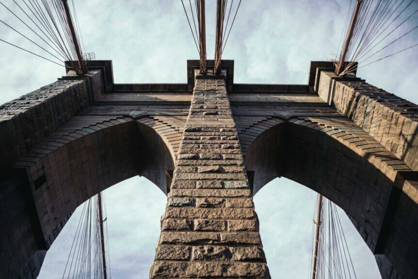 Looking up at the Brooklyn Bridge