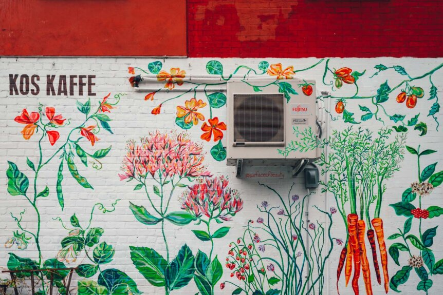 Garden mural at Kos Kaffee in Park Slope