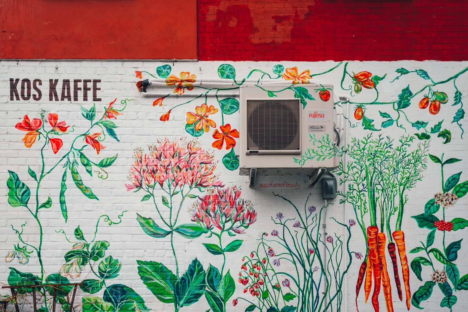 Garden mural at Kos Kaffee in Park Slope