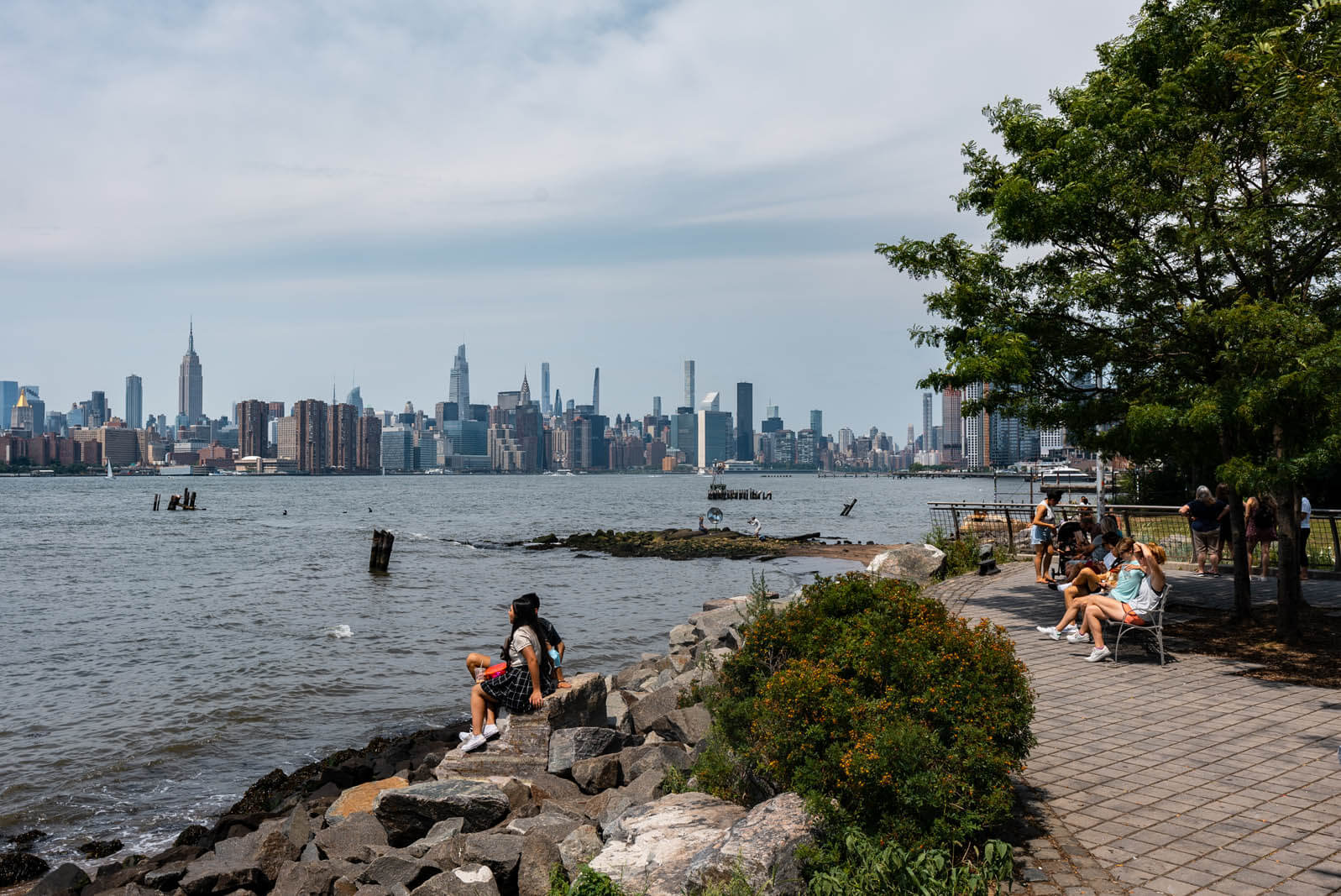Manhattan view from Marsha P Johnson Park in Williamsburg Brooklyn formerly known as East River State Park