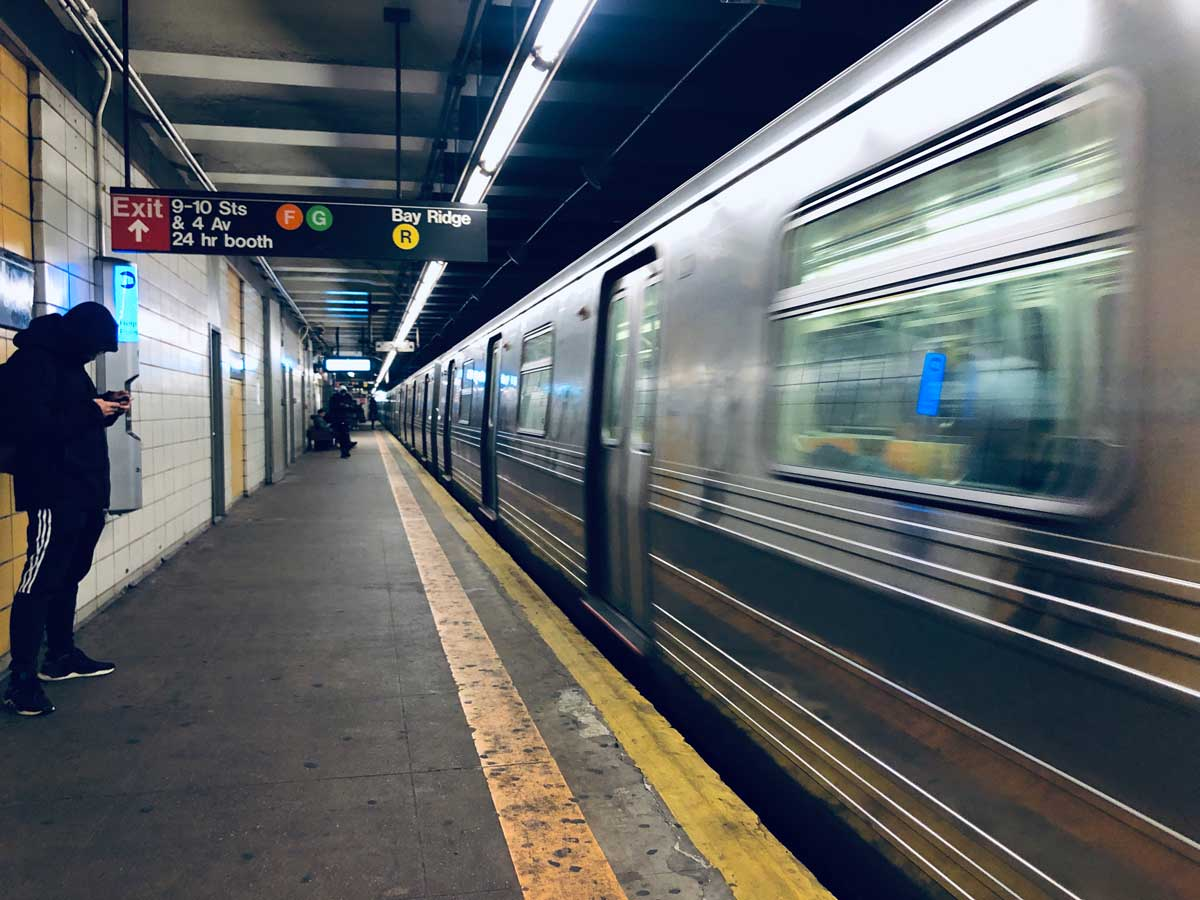 Subway Train in Brooklyn at 4th Avenue Station