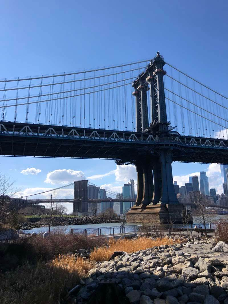 View of both bridges at Brooklyn Bridge Park