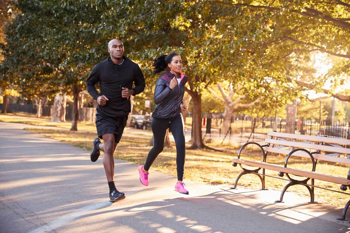 couple jogging at Prospect Park in Brooklyn