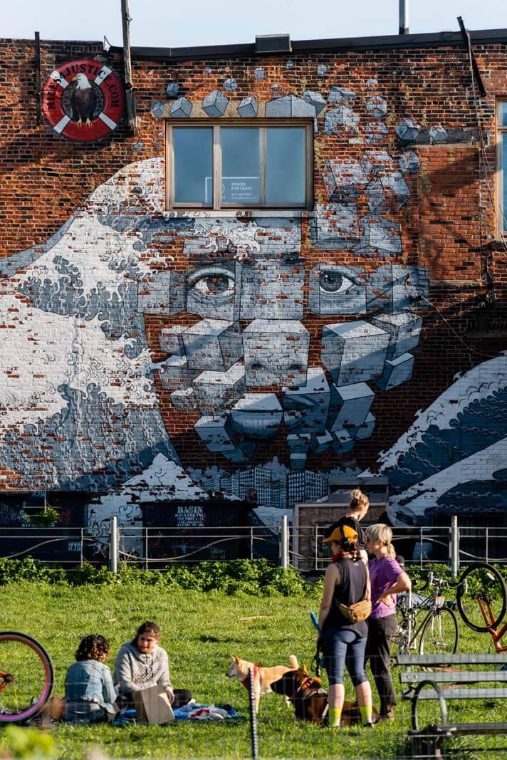mural at Louis Valentino Jr Park in Red Hook Brooklyn