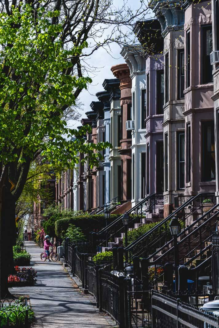 the pretty brownstones of Park Slope Historic District