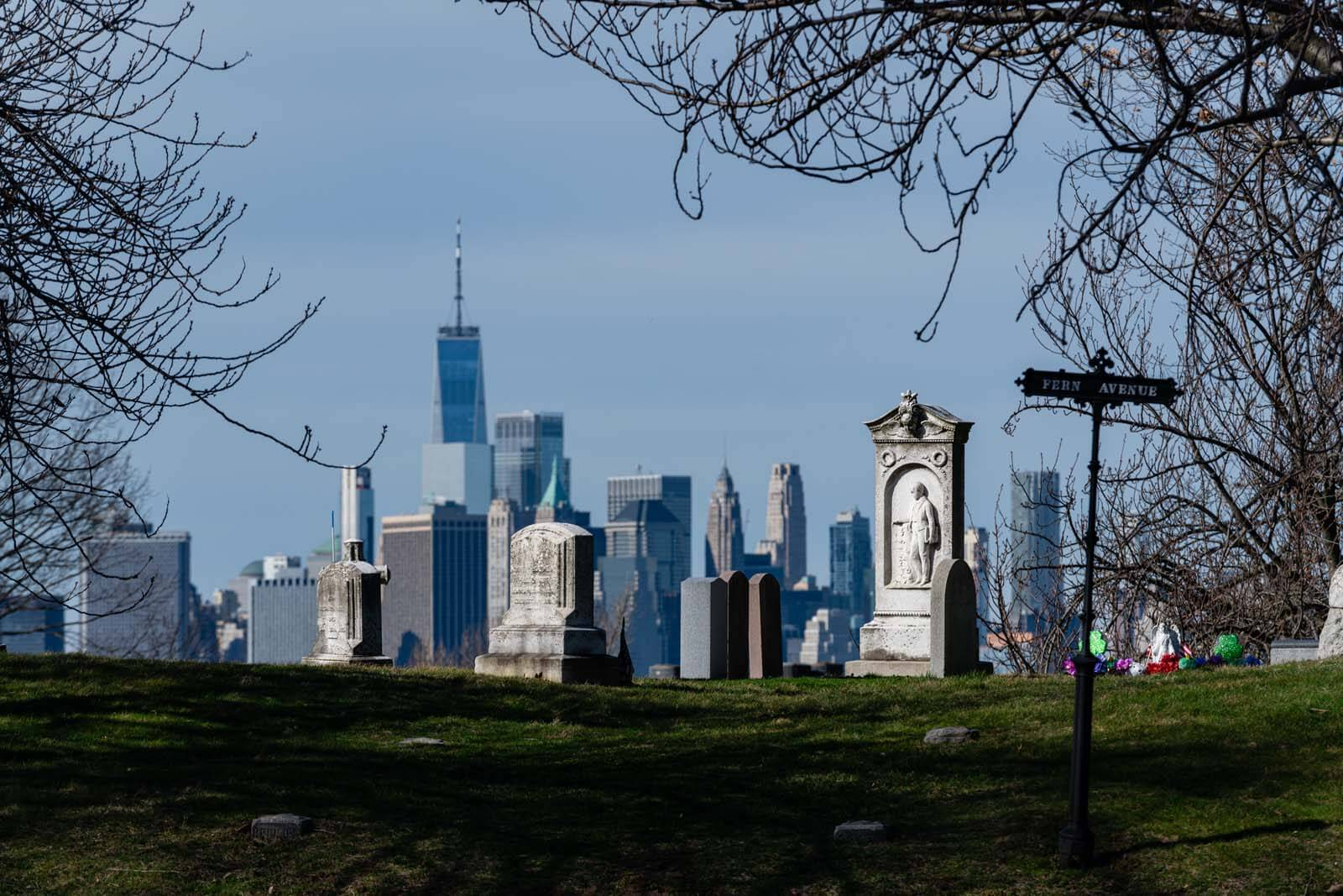 view of the WTC from Greenwood Cemetery in brooklyn