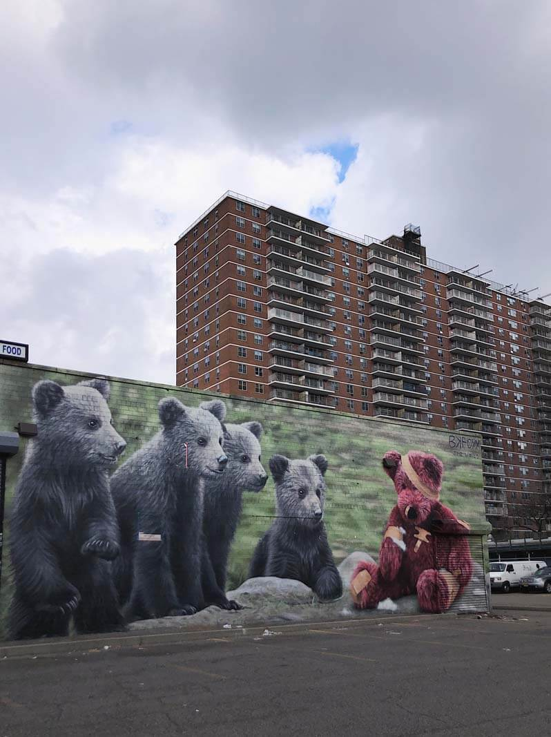 BK FOXX Bear Mural in Williamsburg Brooklyn