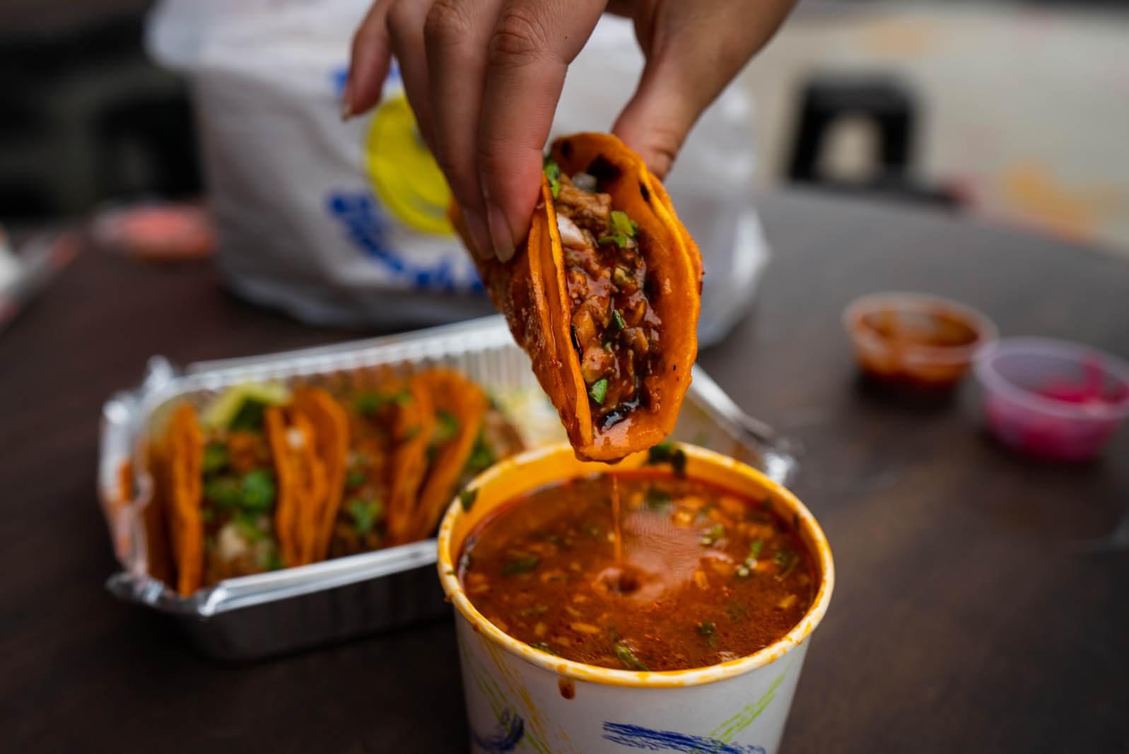 Birria Landia birria tacos from the taco truck on Metropolitan ave in Williamsburg Brooklyn