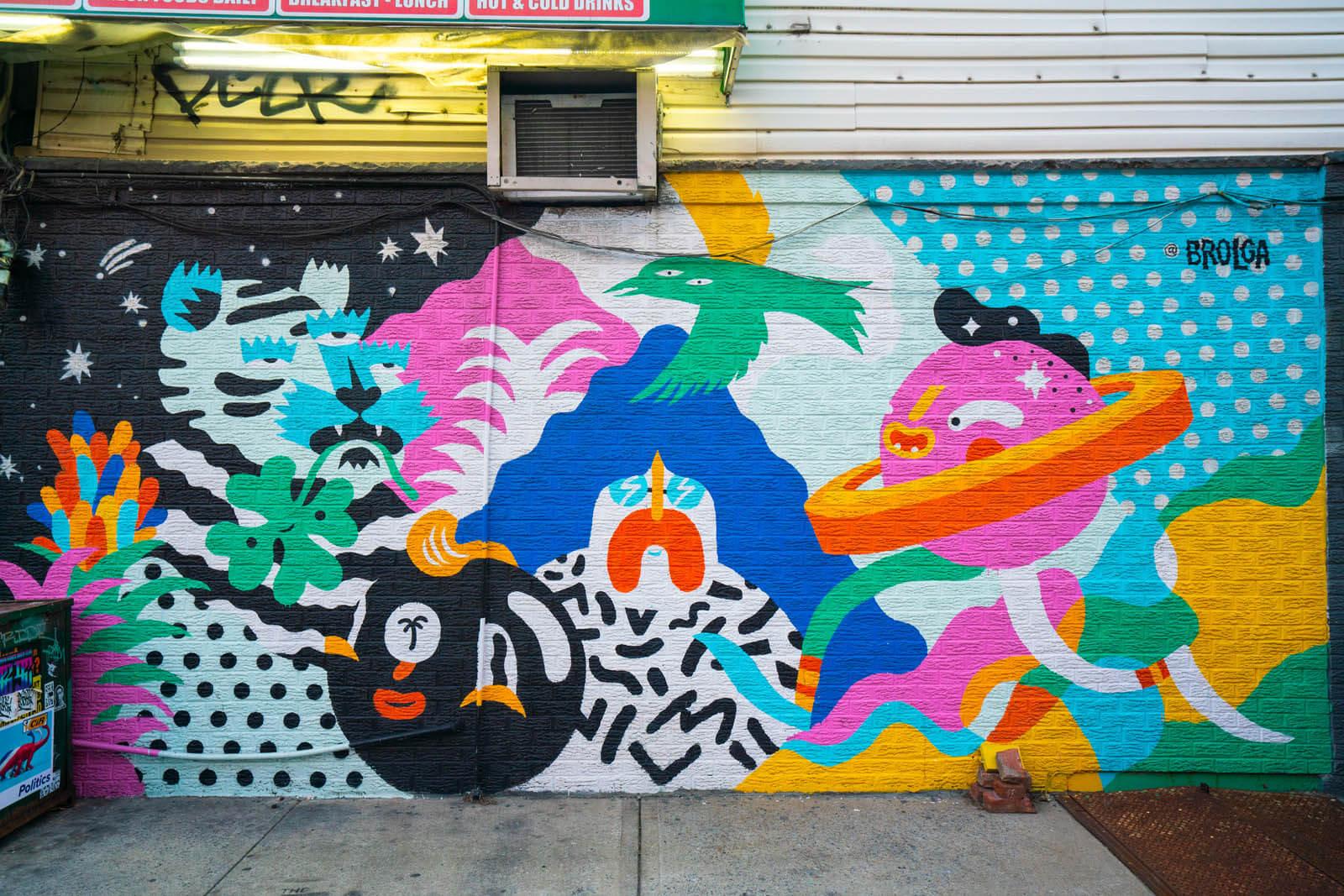 Brolga Mural in Williamsburg Brooklyn on Manhattan Ave