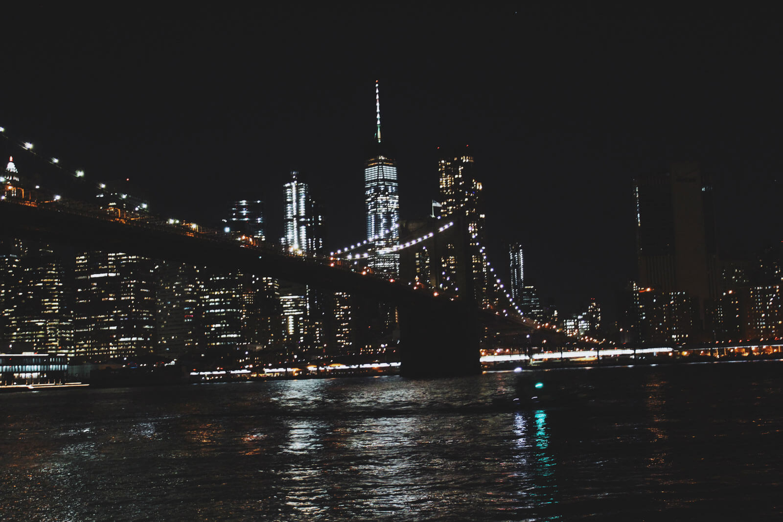 Brooklyn Bridge park at night by Katie Hinkle