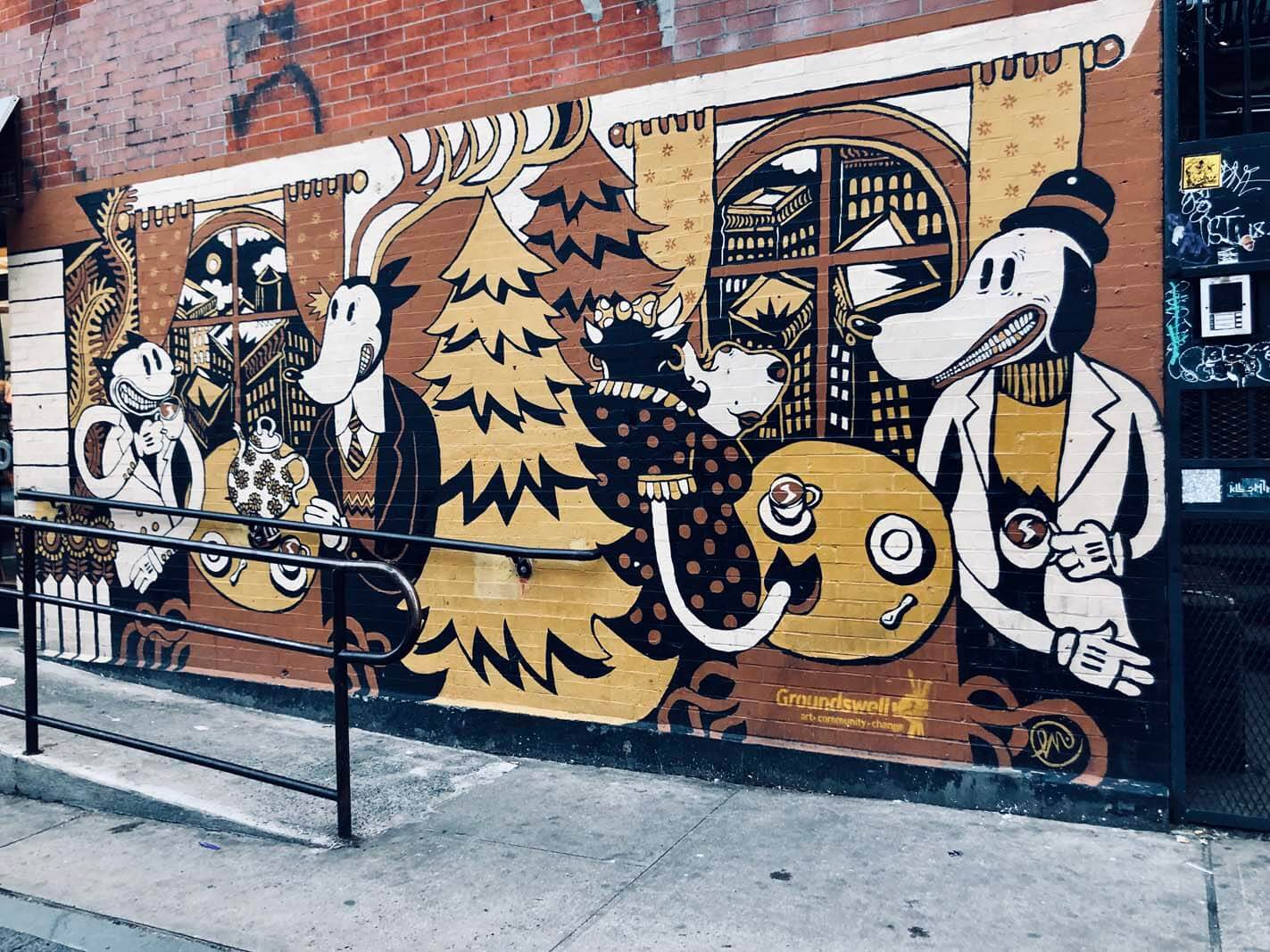 Dunkin Donuts mural in Williamsburg by Groundswell