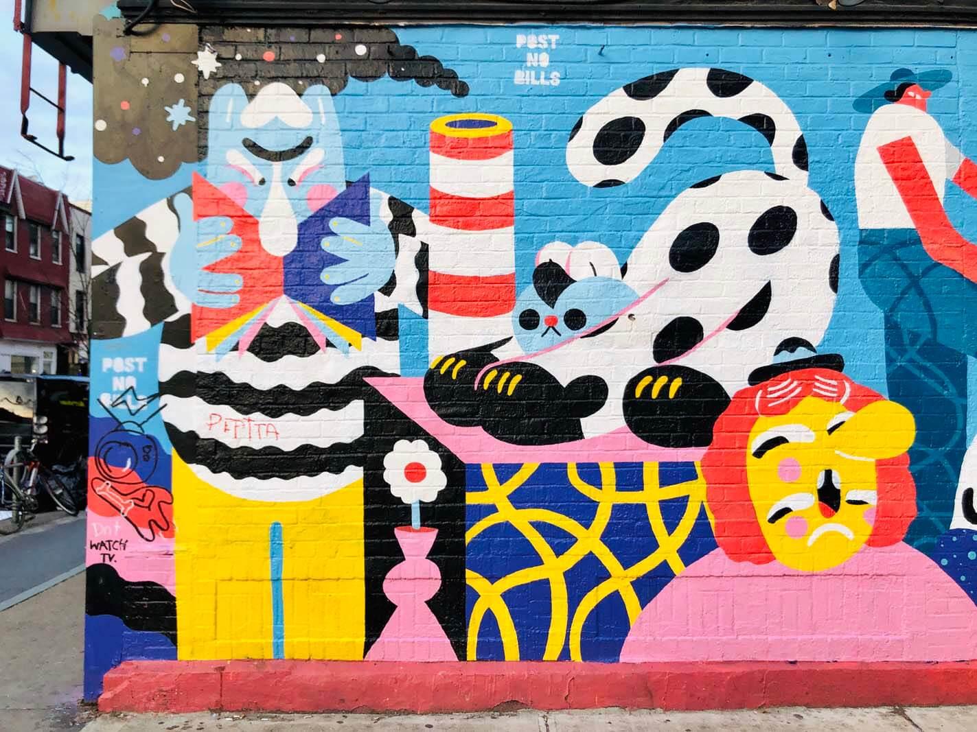 Fun Mural by Brolga in Williamsburg Brooklyn