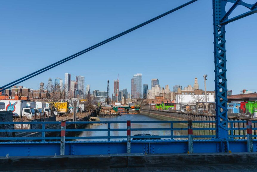 Gowanus Canald and city view in Brooklyn