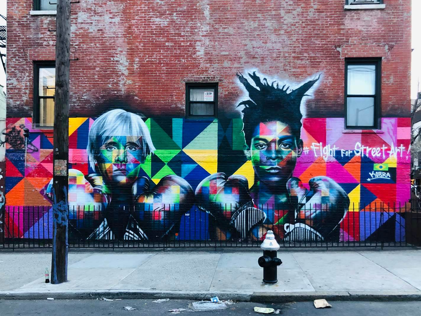 Jean-Michel Basquiat and Andy Warhol by KOBRA Fight For Street Art in Williamsburg