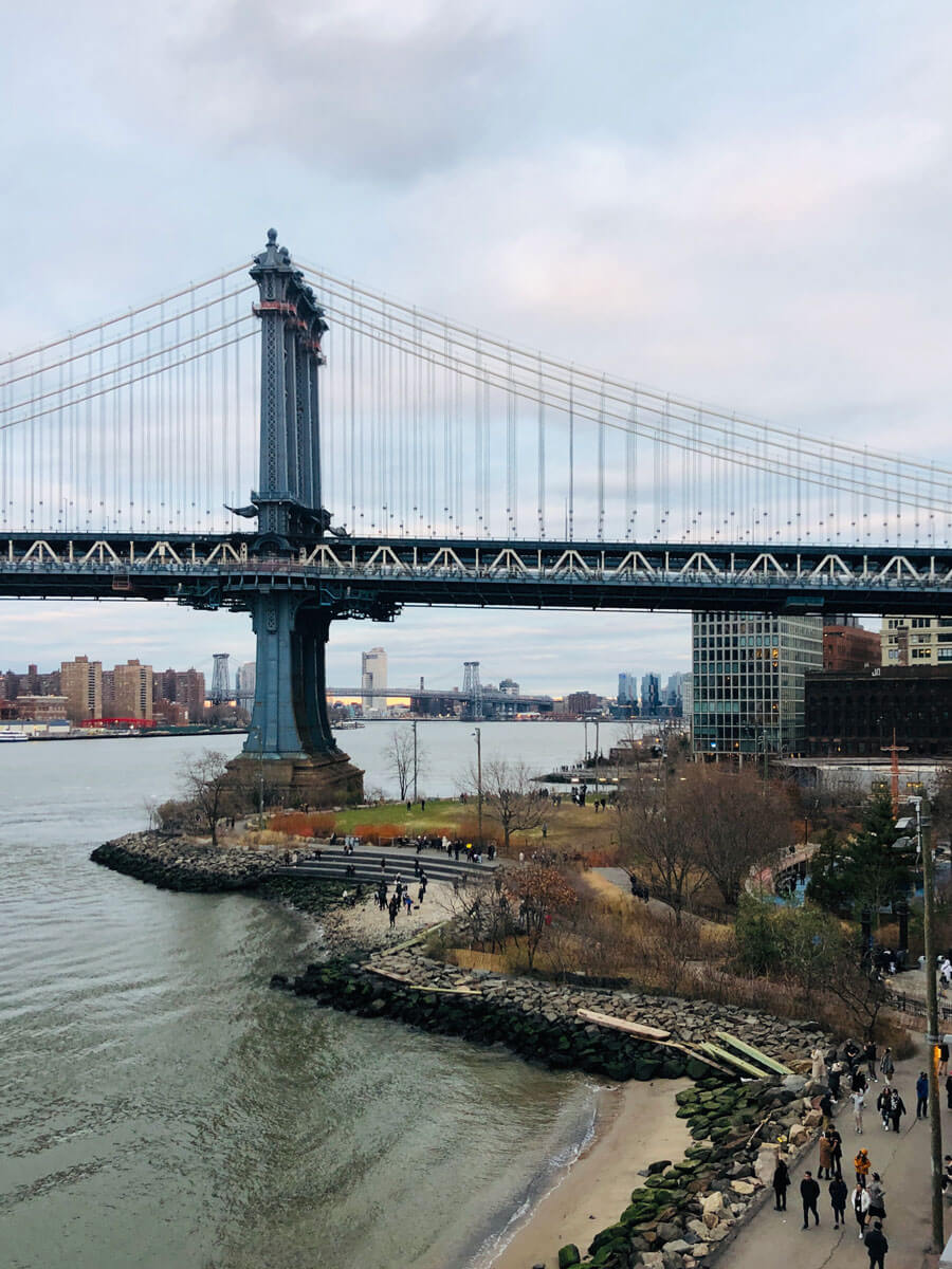 Manhattan Bridge view from the rooftop at Timeout Market Place in DUMBO Brooklyn