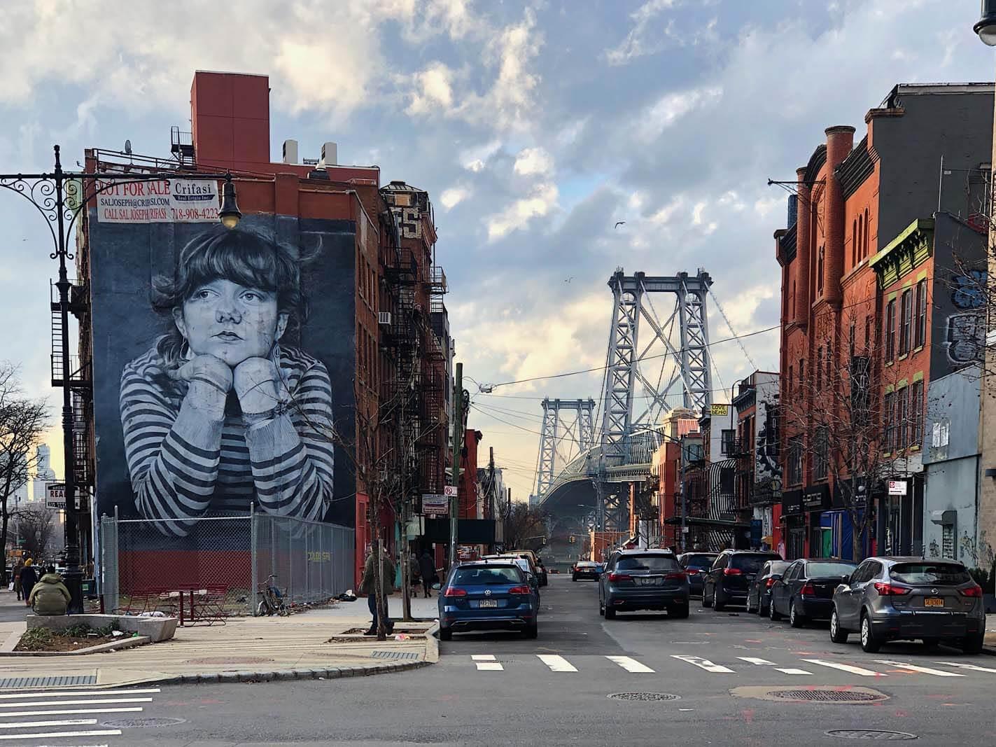 Mona Lisa of Williamsburg by Steven Paul Brooklyn mural and bridge
