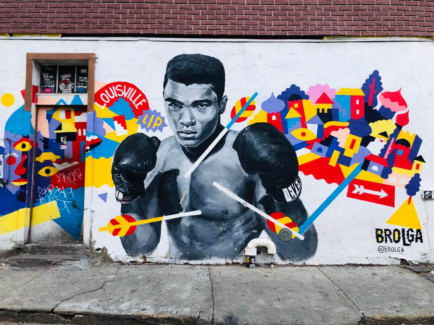 Muhammed Ali mural by Brolga in Williamsburg Brooklyn