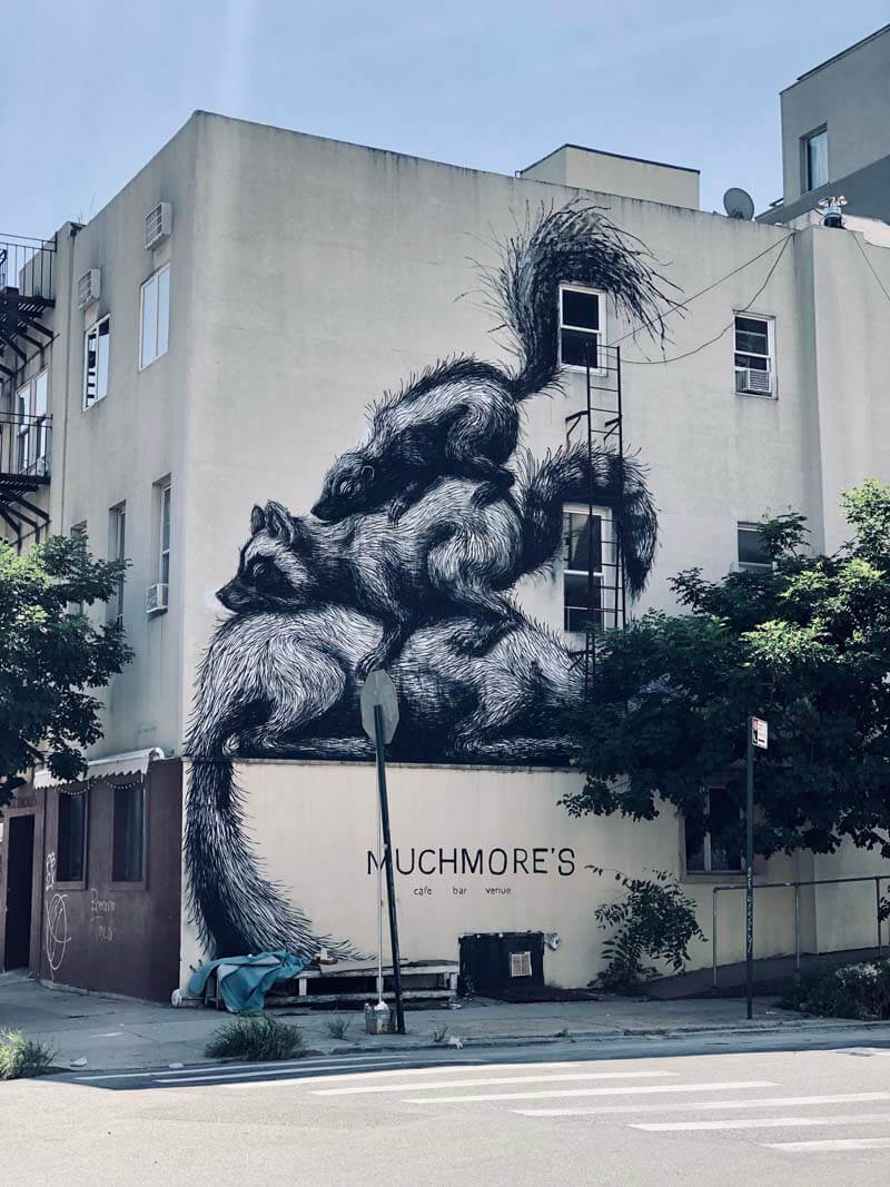 Racoons mural in Williamsburg by artist ROA