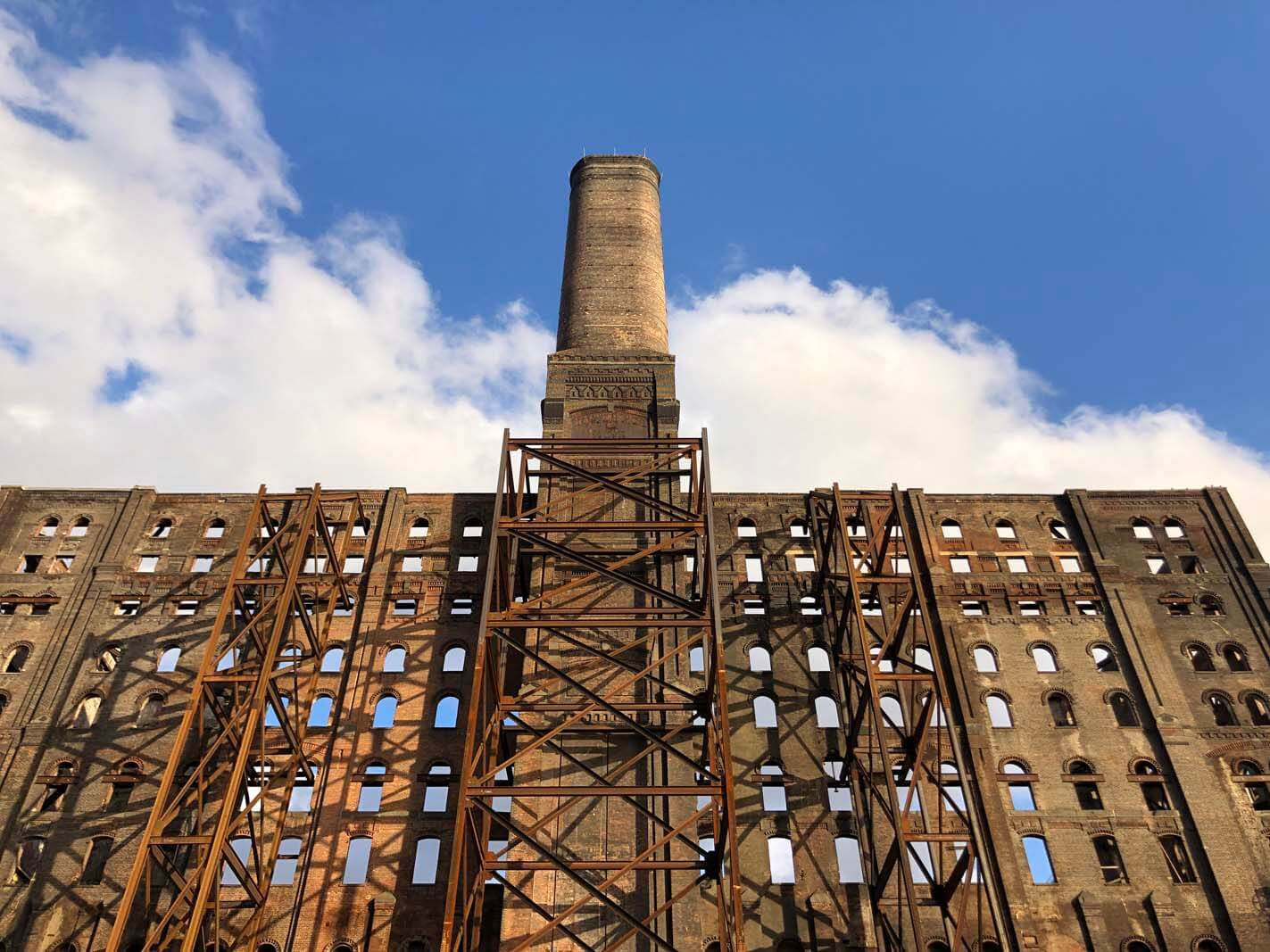 The Domino Sugar Factory at Domino Park in Williamsburg Brooklyn