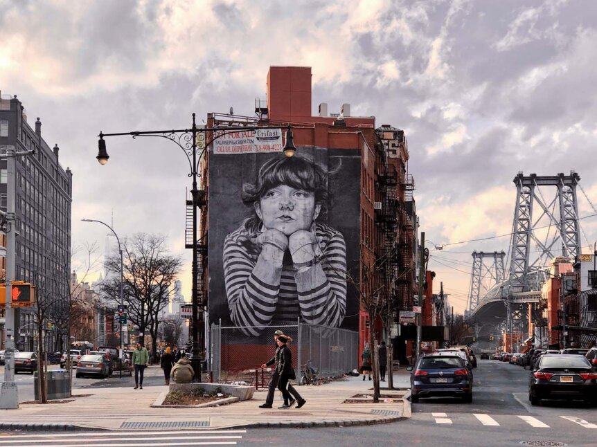 The Mona Lisa of Williamsburg mural Brooklyn by Steven Paul