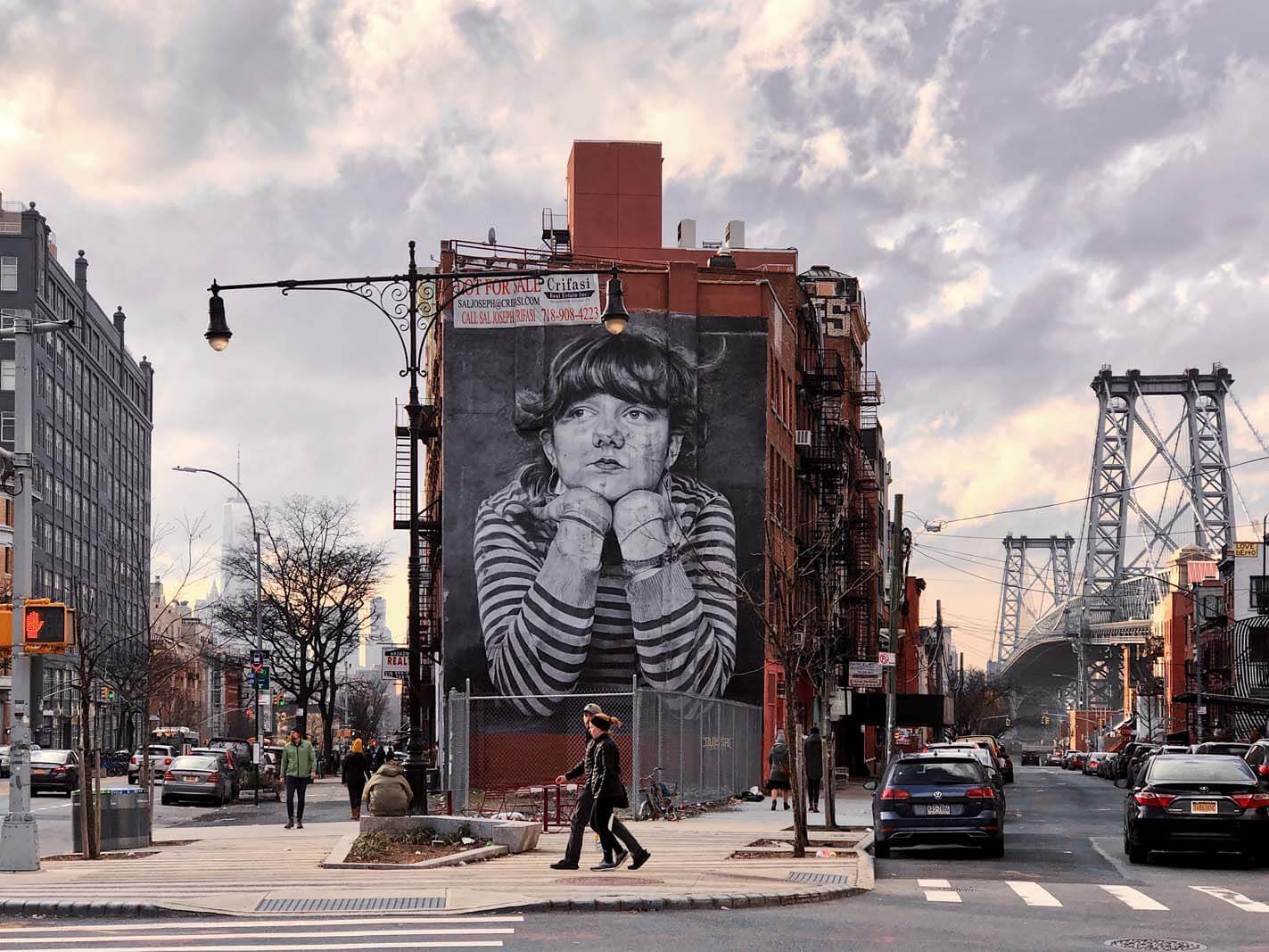 The Mona Lisa of Williamsburg mural Brooklyn by Steven Paul