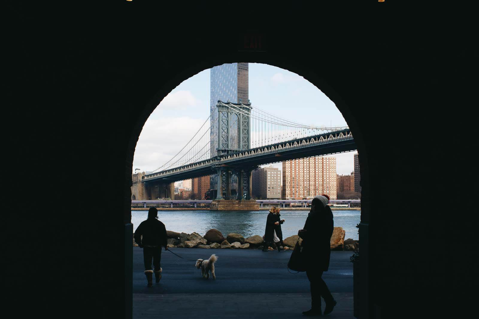 View of Manhattan Bridge from Empire Stores in DUMBO by Katie Hinkle