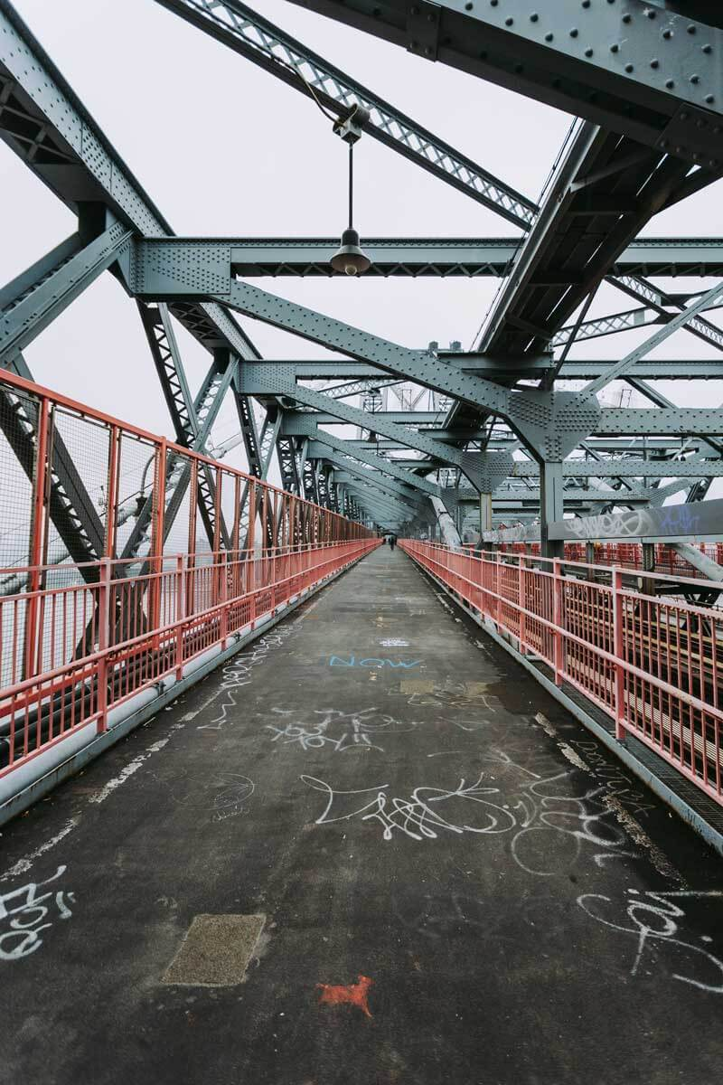 Walking across the Williamsburg Bridge in Brooklyn