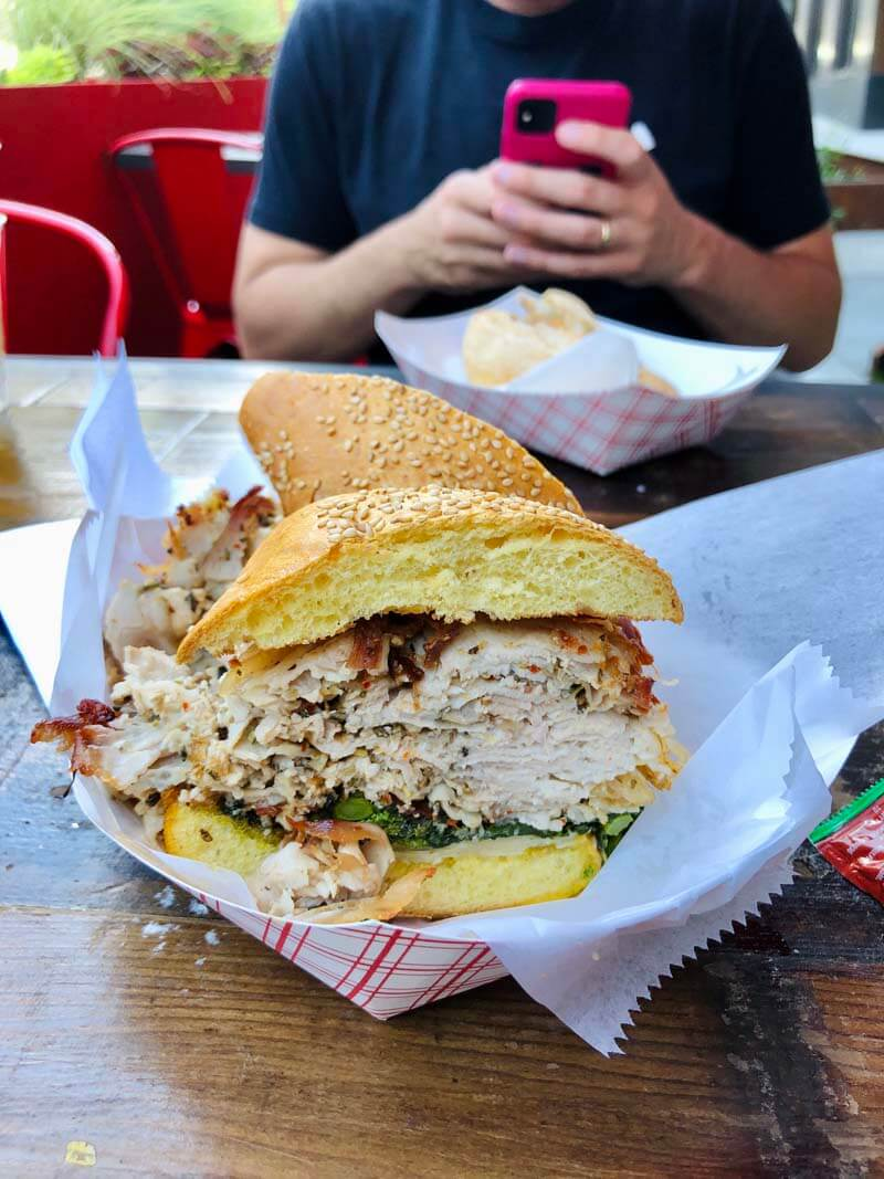 porchetta sandwich at Mekelburgs in Williamsburg Brooklyn