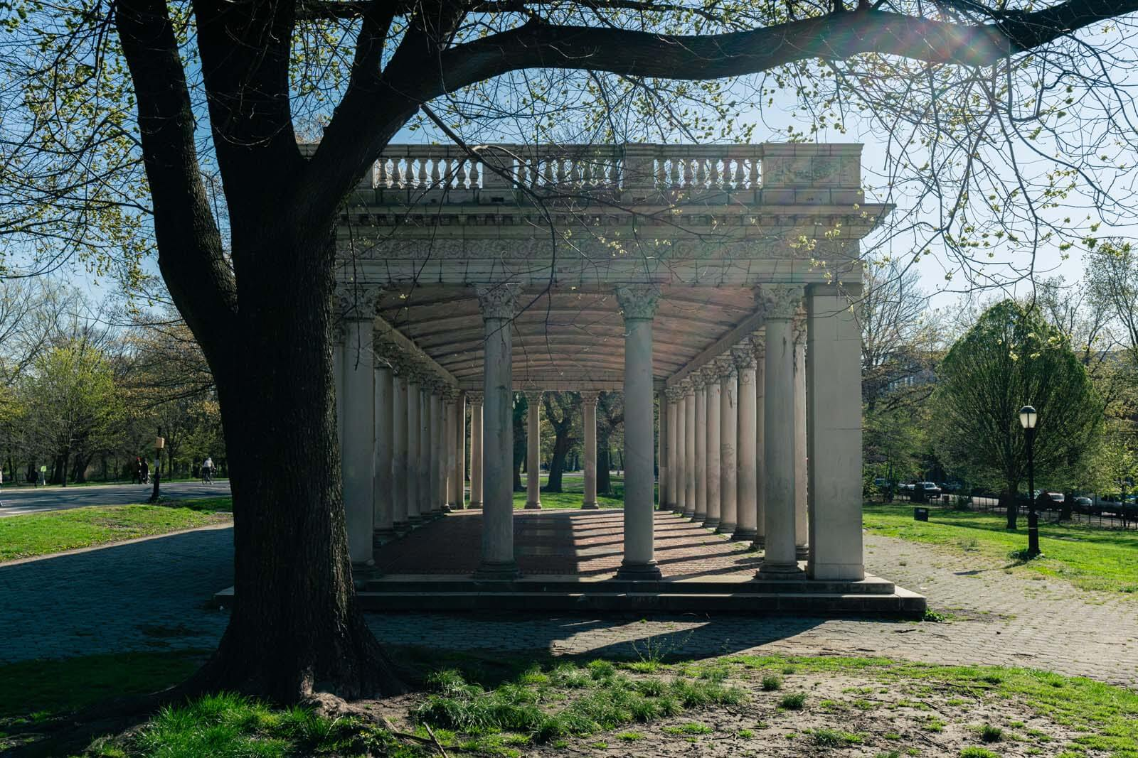 The empty peristyle shelter in Prospect Park
