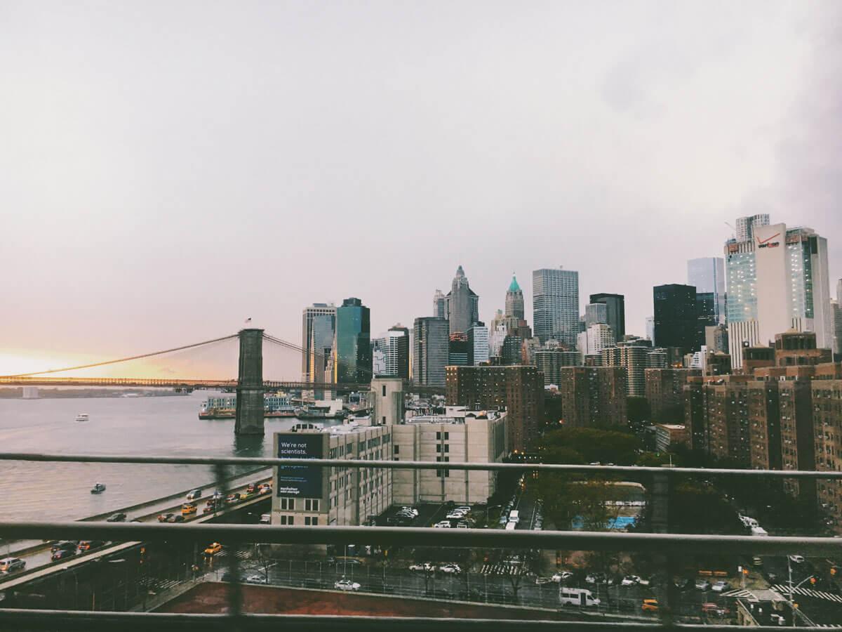 View-of-Manhattan-and-Brooklyn-Bridge-from-Manhattan-Bridge-walk by Katie Hinkle