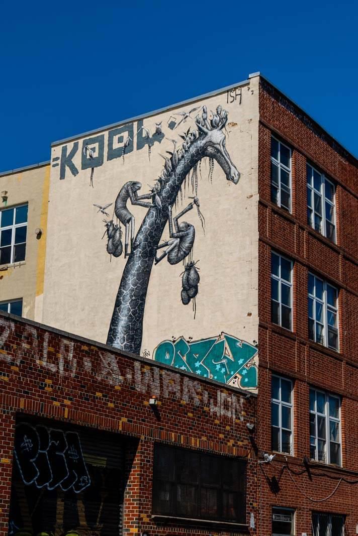 kool giraffe mural in Bushwick