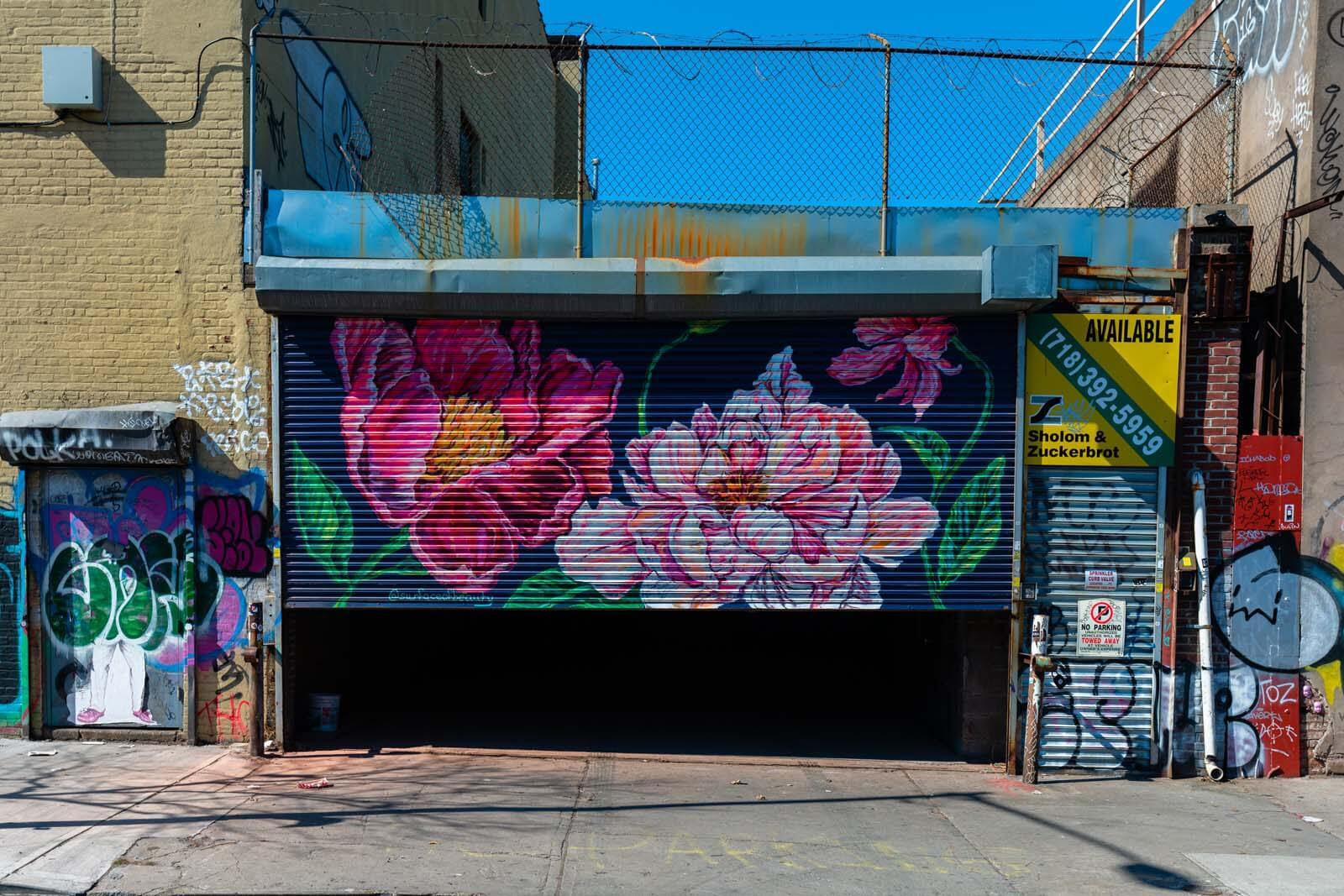 pretty flower mural at the Bushwick Collective in Brooklyn