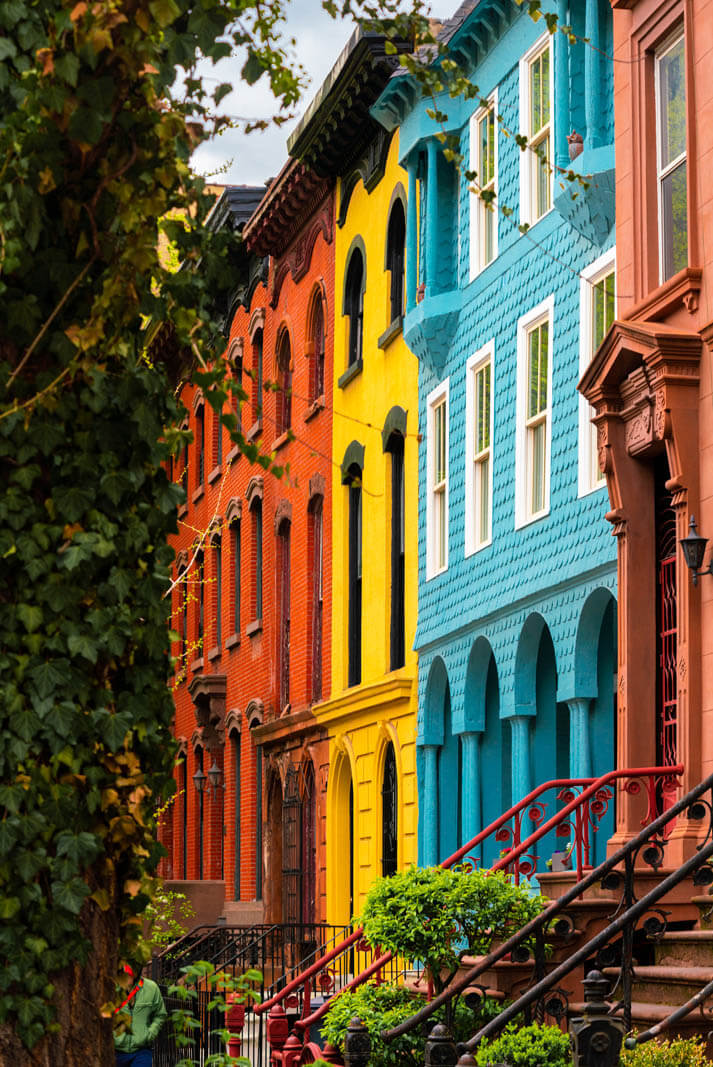 Gorgeous colorful homes on Elliot Place in Fort Greene Brooklyn