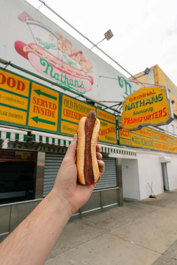 Nathans Famous hot dog at Coney Island
