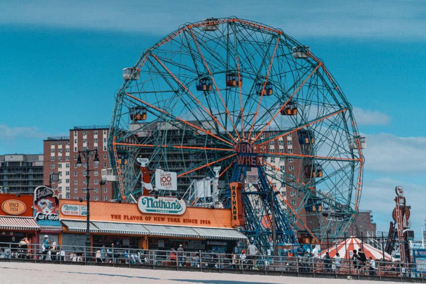 The Wonder Wheel and Nathans Famous on Rieggleman Boardwalk in Coney Island