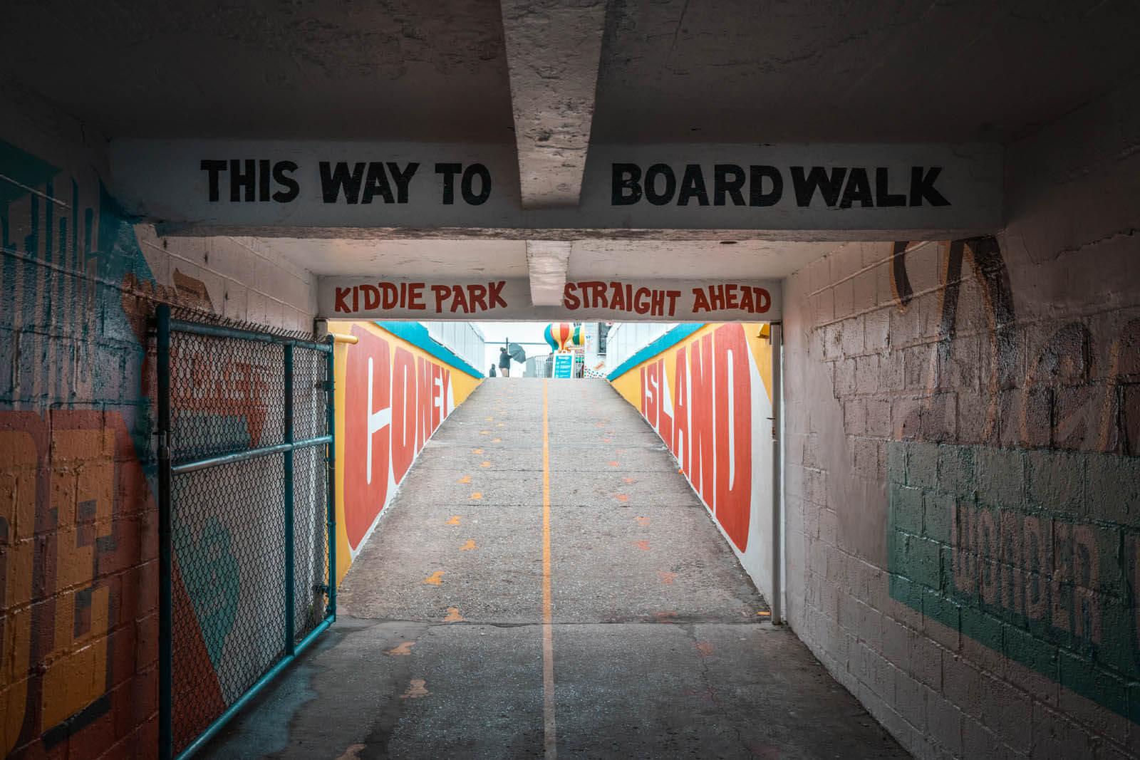 Underneath the wonder wheel walkway at coney island