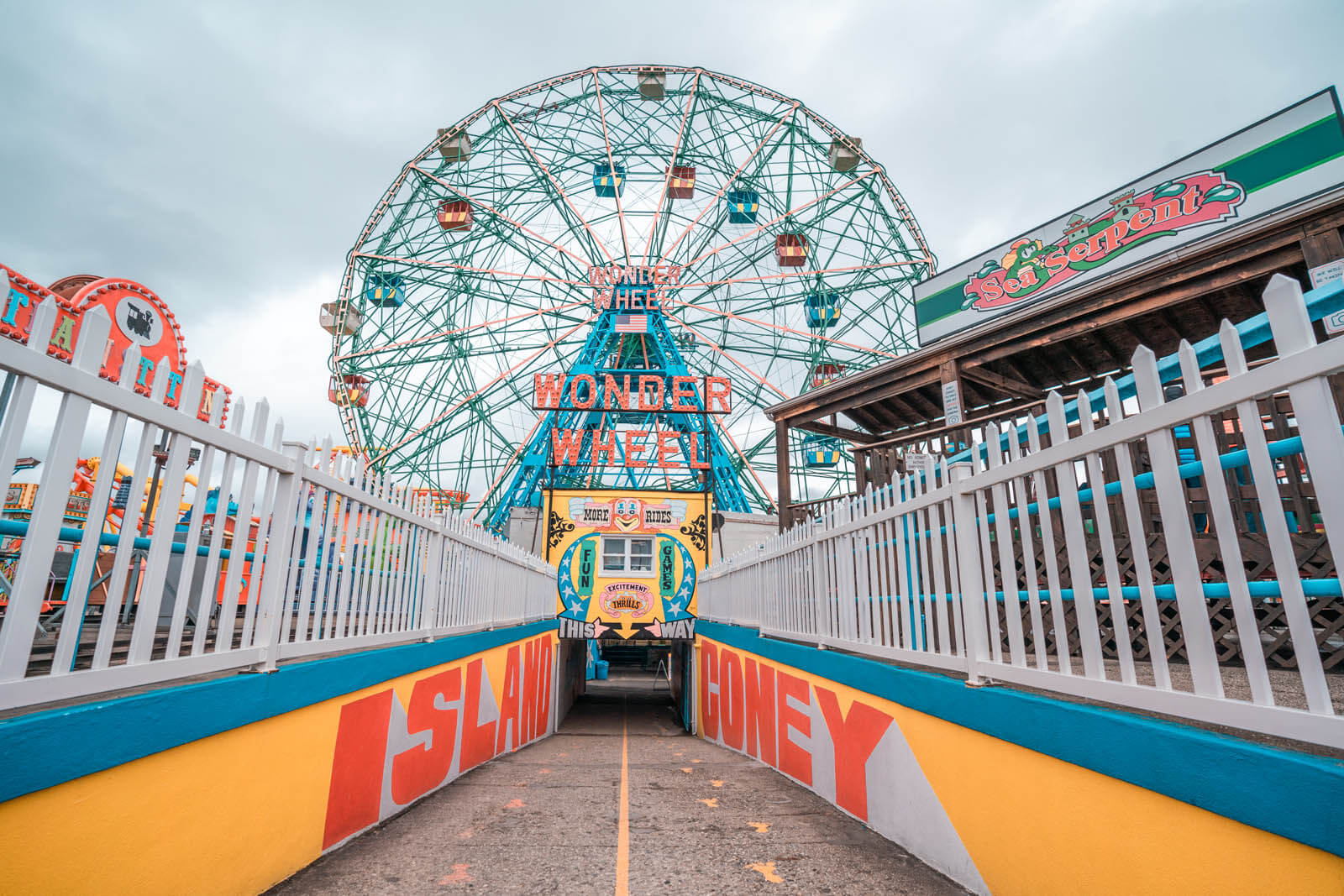Wonder Wheel and the walkway to it at Coney Island