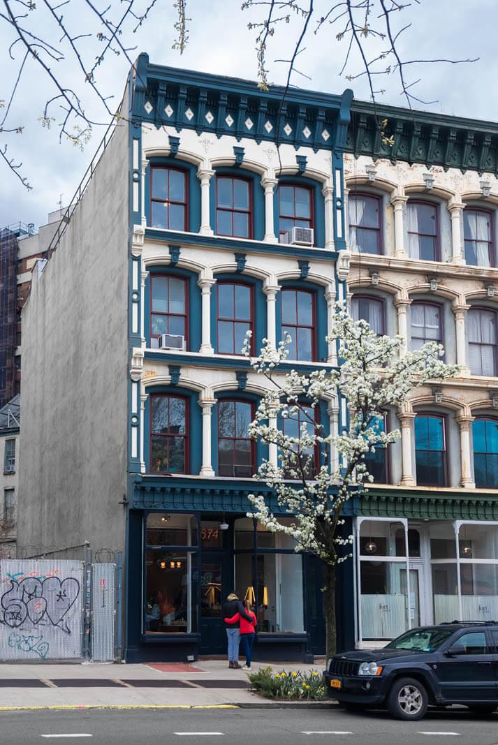 couple window shopping in Fort Greene Brooklyn
