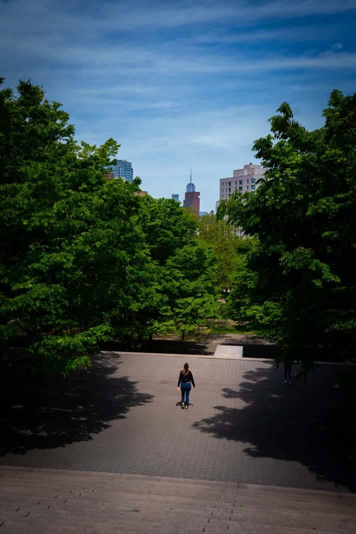 girl walking in Fort Greene park in Brooklyn