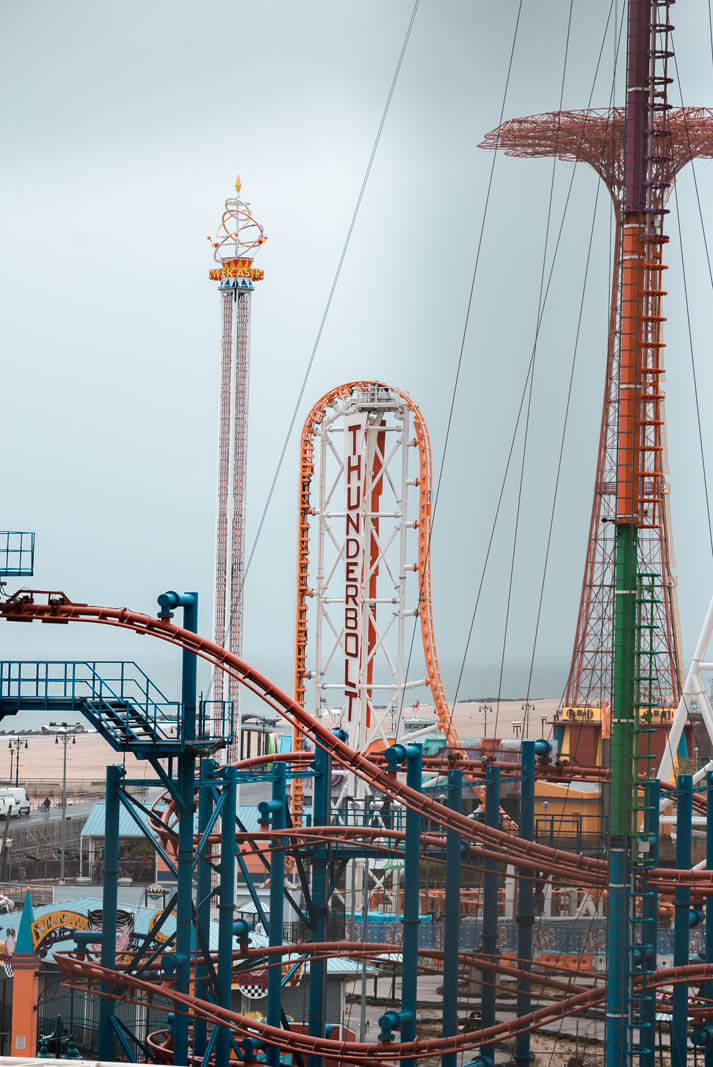 the thunderbolt rollercoaster at coney island in brooklyn