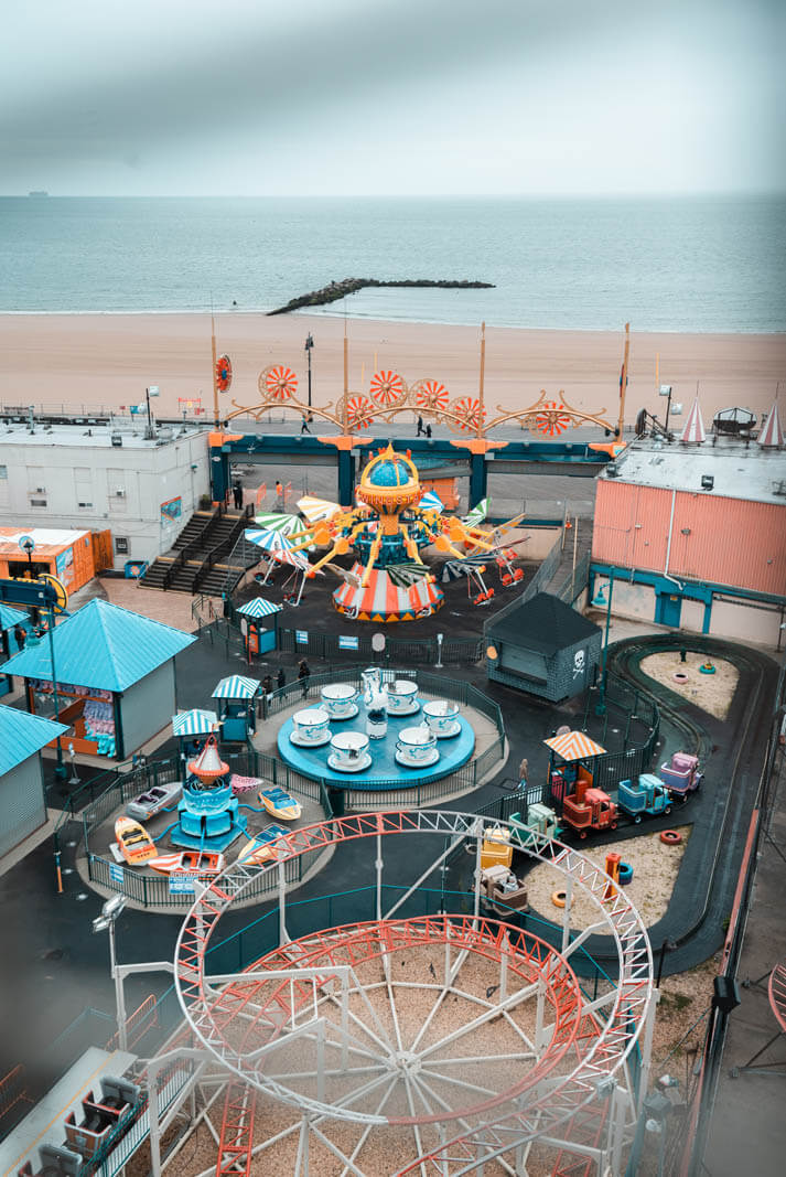 view of amusement park and coney island beach from the wonder wheel