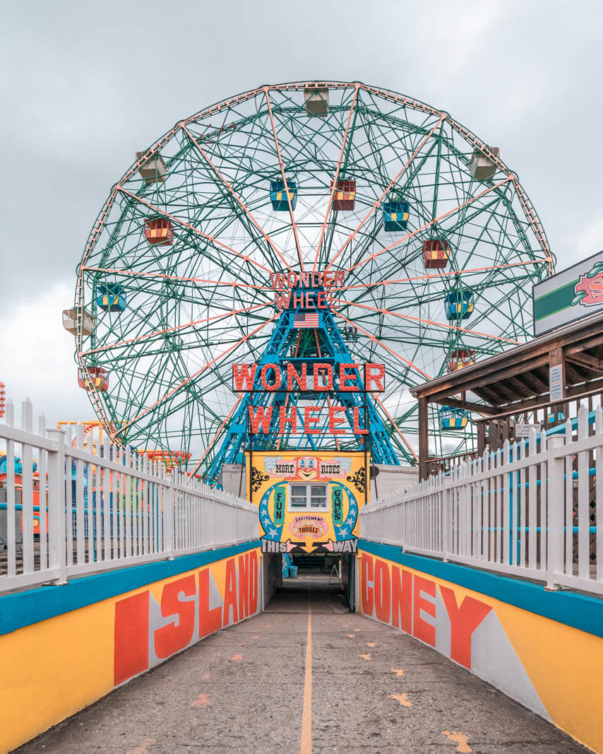 view of the walkway to the Wonder Wheel at Coney Island