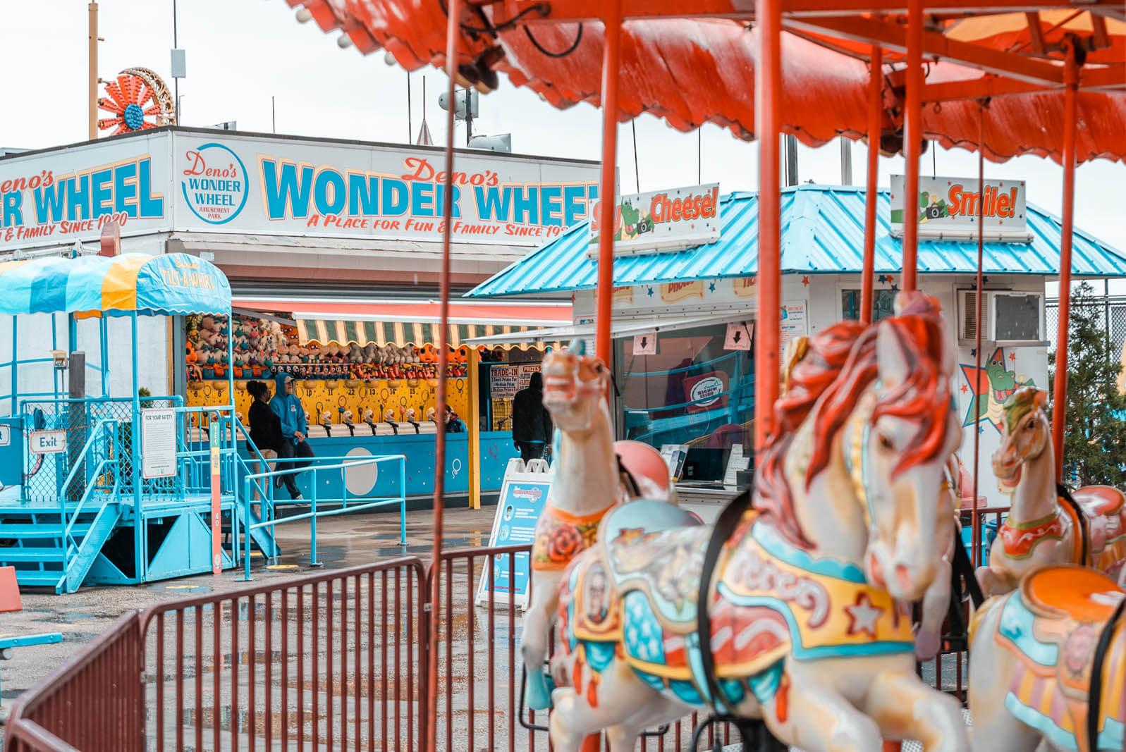 wonder wheel carousel at Denos Wonder Wheel Park at Coney Island