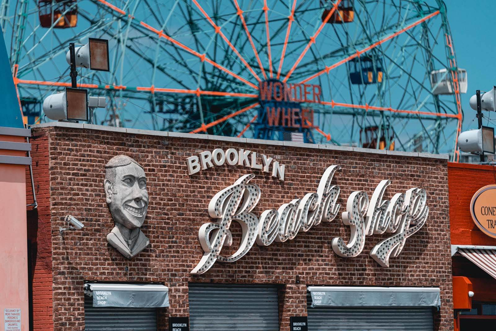 Brooklyn Beach Shop and Wonder Wheel view at Coney Island