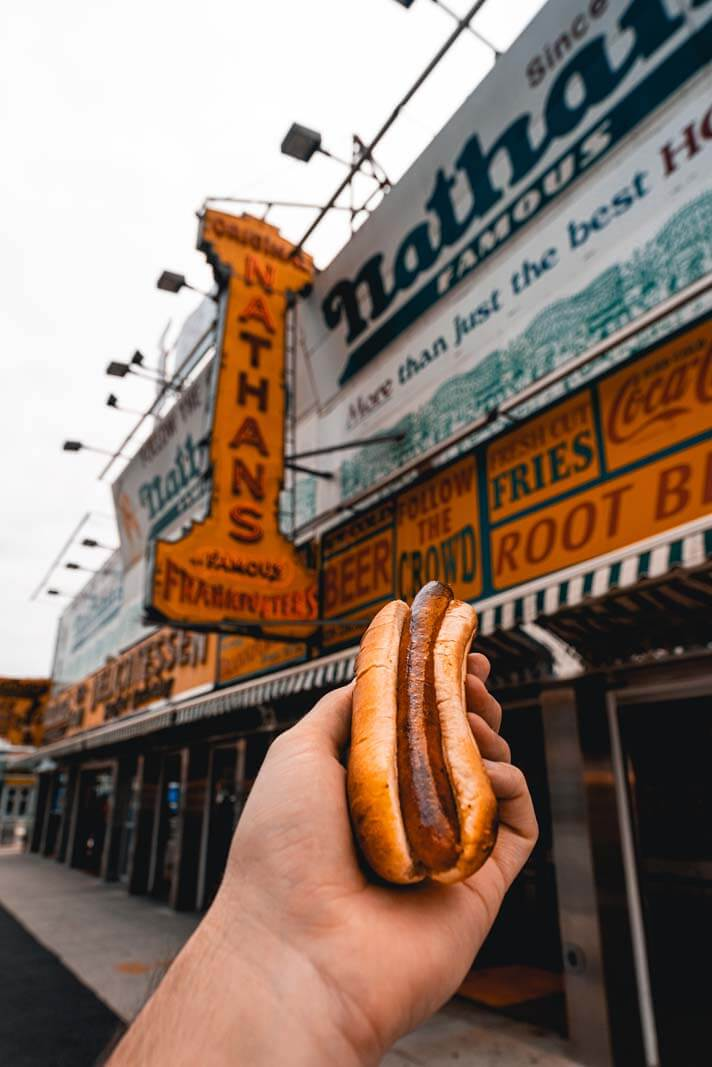 Nathans Famous hot dog at Coney Island in Brooklyn