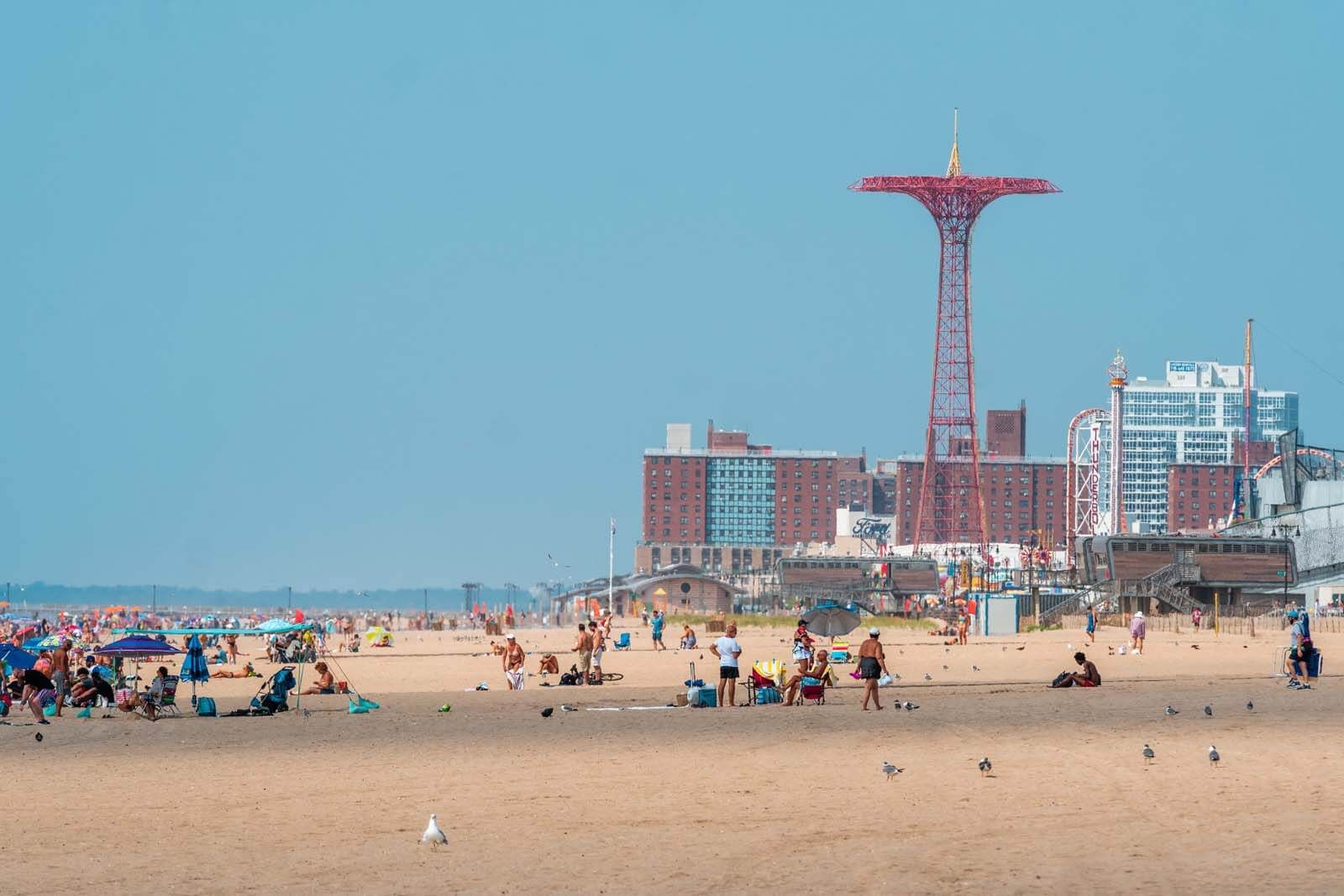 Brighton Beach in Brooklyn with Coney Island in the backdrop
