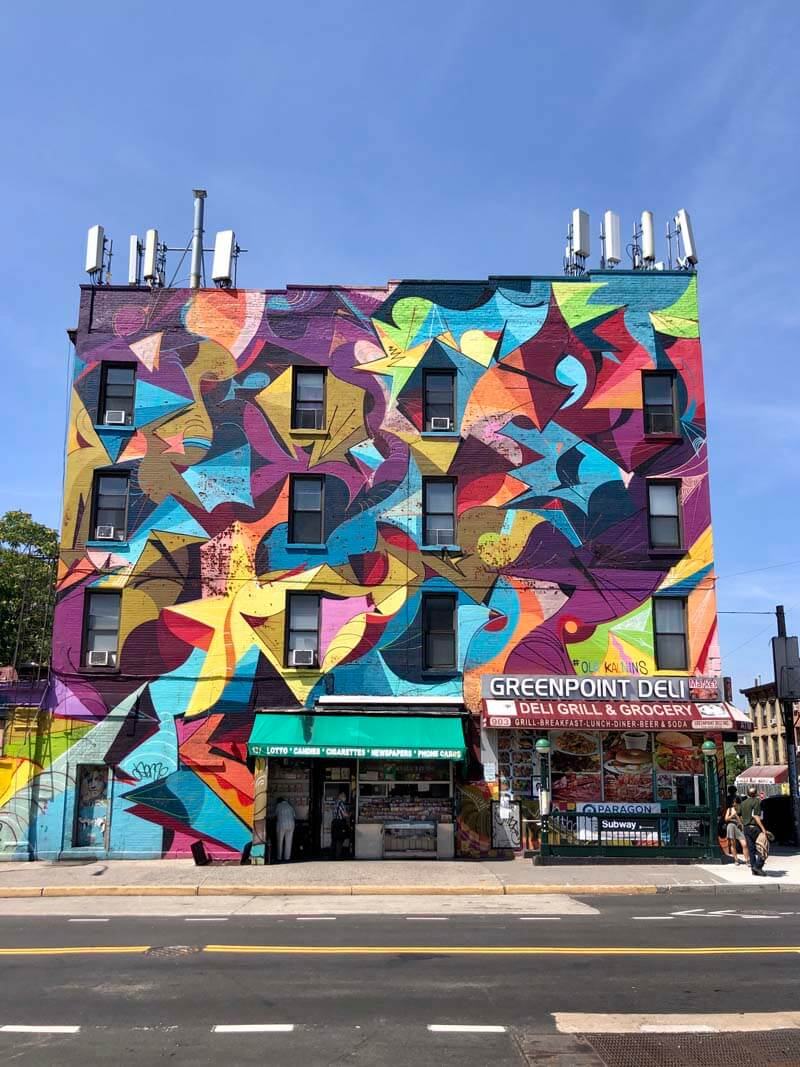 Colorful facade in Brooklyn at Greenpoint Deli