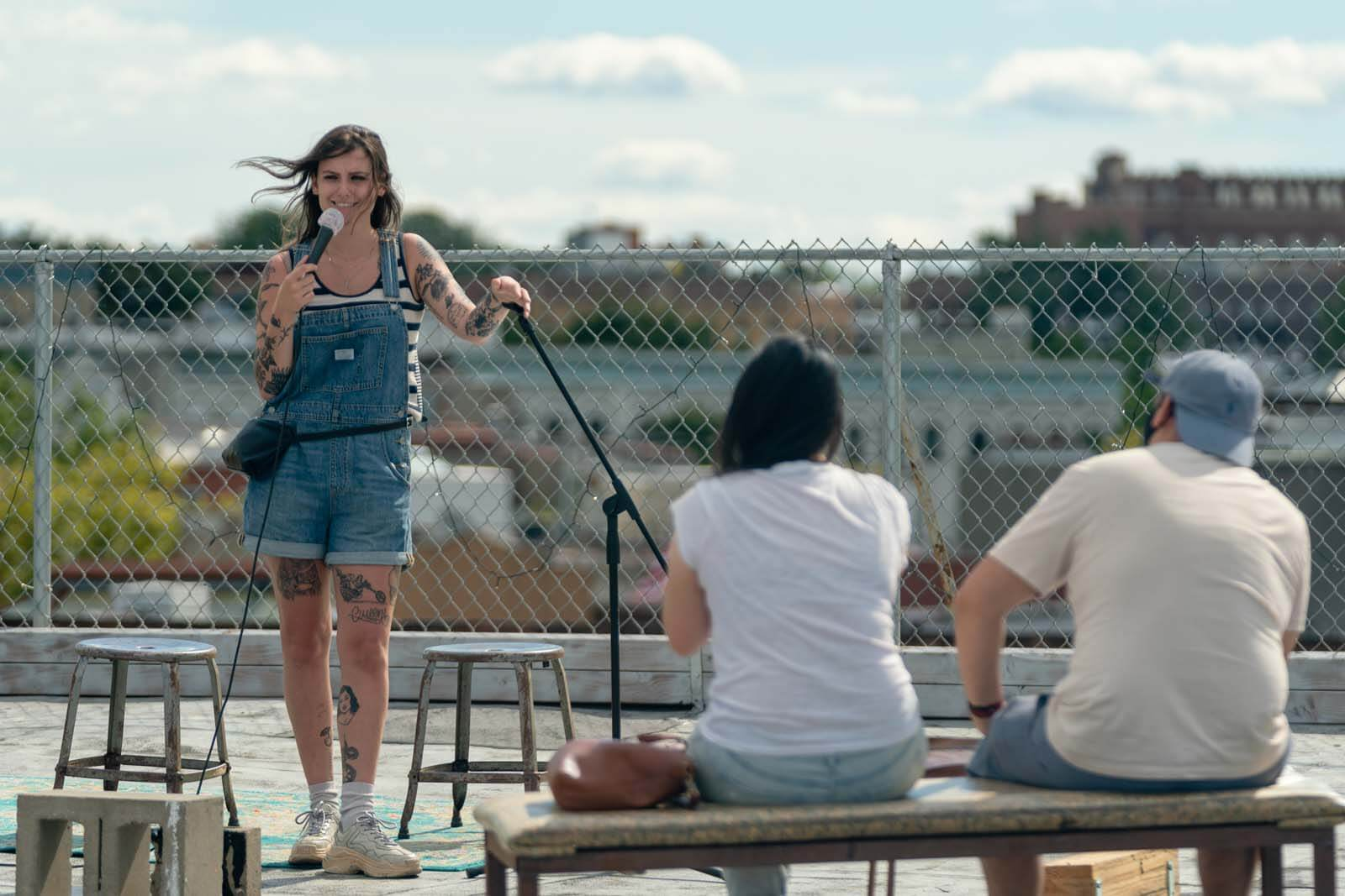 comedian Natalie Cuomo performin gat Tiny Cupboard rooftop comedy show in brooklyn