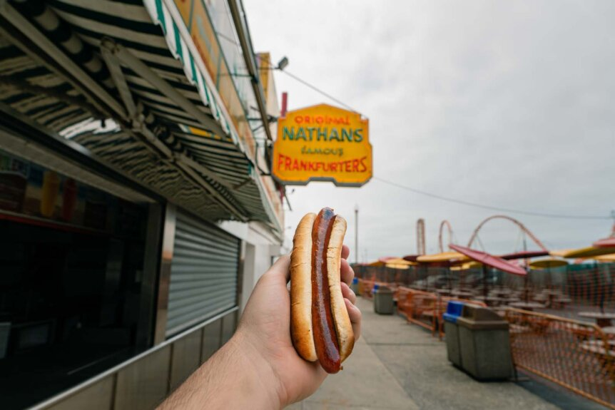 Nathans Famous hot dog in Coney Island Brooklyn iconic Brooklyn food to try!
